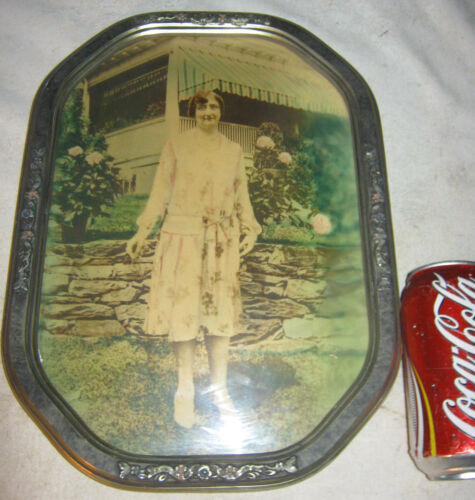 ANTIQUE CONVEX GLASS WOOD ART DECO PICTURE PHOTO FRAME STONE WALL FLOWER LADY