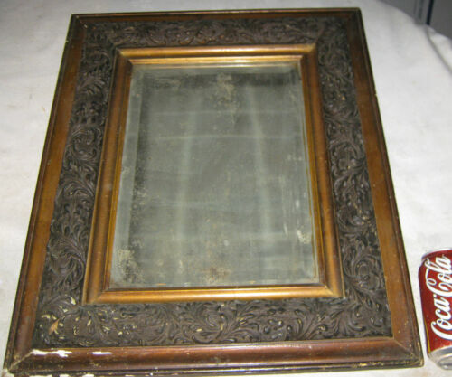 ANTIQUE PRIMITIVE COUNTRY HOME WALL ART WOOD FRAME GLASS MIRROR LEAF PATTERN