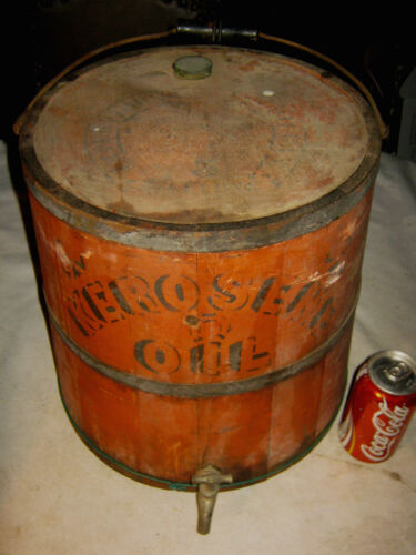 ANTIQUE PRIMITIVE COUNTRY STORE KEROSENE OIL WOOD METAL PAIL BUCKET CAN HOLDER