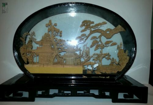 CHINESE HAND CARVED CORK LANDSCAPE IN GLASS SHADOW LACQUERED BOX. ANTIQUE