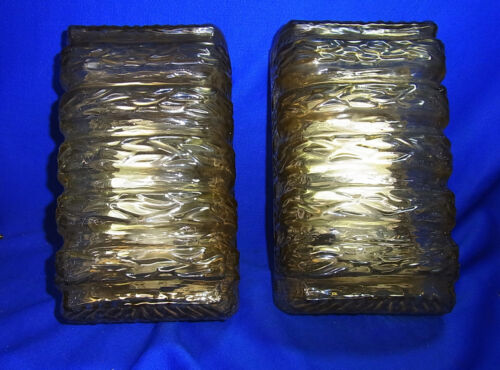 Pair Nice Glass Mid Century 60´s  Organic Pattern  Wall Lamps Sconces  B# <2