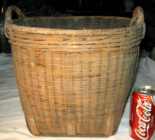 PRIMITIVE ANTIQUE COUNTRY AMERICANA FARM WOVEN SPLINT WOOD FOLK ART URN BASKET