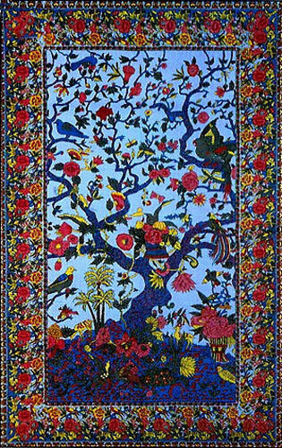 New TAPESTRY Hanging TREE OF LIFE Wall Decor SPREAD Blue TIE DYE FABRIC Bird