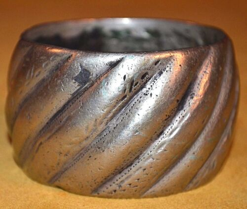 Heavy Antique Tuareg African Ethnic Coin Silver Metal Tribal Bracelet From Mali