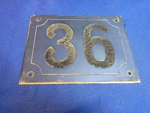 Mid Century Chrome with Black Numbers House Sign No. 36 #L