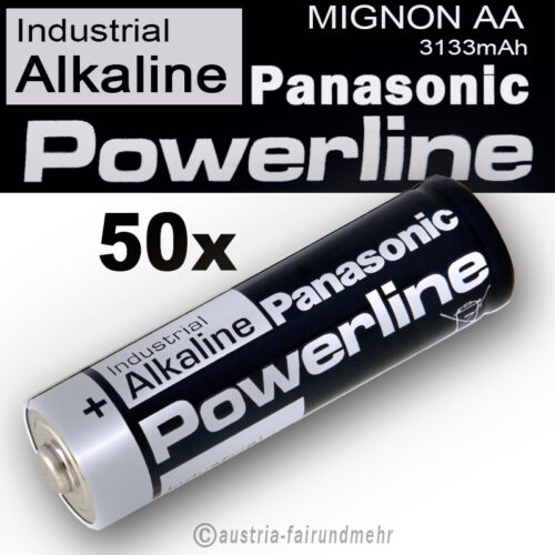 50x MIGNON AA LR6 MN1500 Batterie PANASONIC POWERLINE INDUSTRIAL