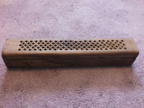 Collectible Wood Insense Burner Made in India 12 x 2 1/4 x 2 1/4 Inches Sun Star