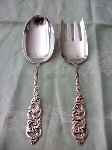 FRANK WHITING Solid Sterling Silver GLADSTONE c1891 2Pc SALAD SET NM XC  129