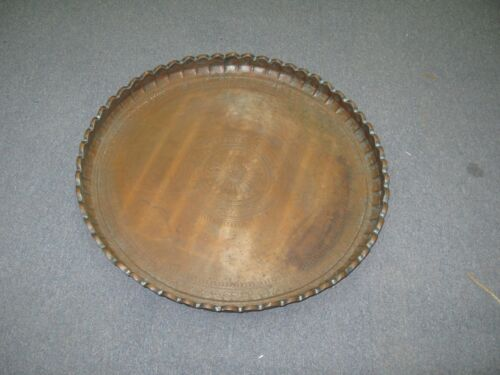 """HUGE ANTIQUE ISLAMIC MIDDLE EASTERN COPPER TABLE TRAY HAND MADE 26"""" FLUTED RIM"""