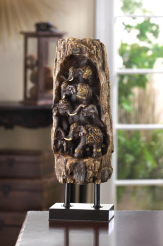 """Carved Elephant Totem Decor Polystone Statue Metal Base African Motif 11"""" TALL"""