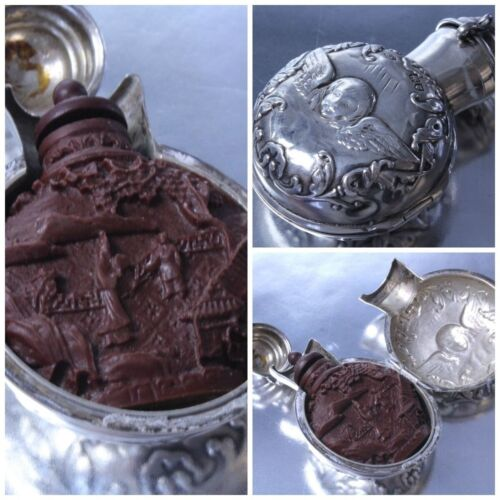 Antique Fine Oriental Chinese Carved Cinnabar Snuff Bottle Sterling Silver Case