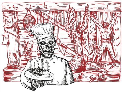 ART PRINT POSTER PAINTING SKELETON CANNIBAL CHEF BODY PARTS HORROR LFMP0268