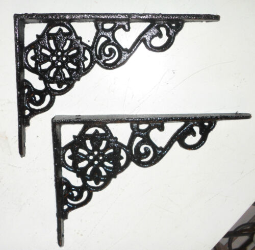 Beautiful BLACK cast iron ornate wall SHELF BRACKETS - pairs available