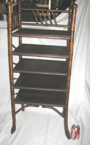 ANTIQUE PRIMITIVE BAMBOO ADIRONDACK WOOD MUSIC ART STAND RACK TABLE SHELF HOLDER