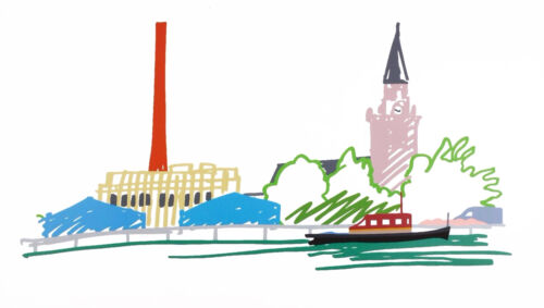 """TOM WESSELMANN """"THAMES SCENE WITH POWER STATION""""   SIGNED SCREENPRINT   57X99"""""""