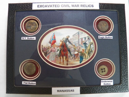 """Excavated Civil War Period Buttons In a 6"""" X 8"""" Display Case (NEW)Buttons - 36034"""