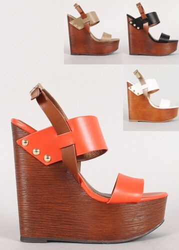 Womens Ankle Strap Wedge Wooden Shoes PU-Leather Slingback Platform Sandal Studs