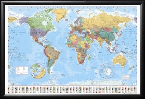 Framed World Map with Country Flags Perfect For Push Pins Premium Wood