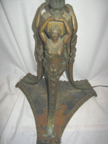 ANTIQUE ART NOUVEAU NUDE LADY STATUE BRIDGE FLOOR SCONCE SHADE LIGHT IRON LAMP