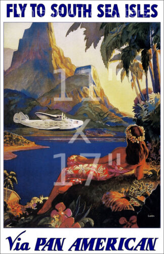 Pan Am Fly to South Sea Isles - 11x17 inch Vintage Airline Travel Poster