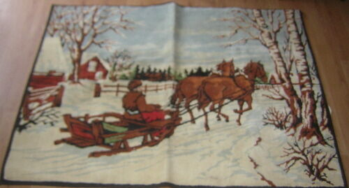 "VINTAGE PRIMATIVE RUG 40""x54"" DRAFT HORSE BOBSLED SLEIGH Made in Belgium"