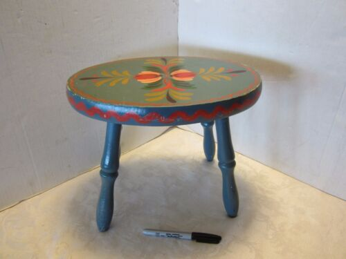 Vintage Hand Painted Folk wood OVAL Stool PA Dutch Floral tole signed MN Blue