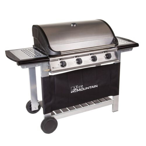 Fire Mountain Everest 4 Burner Gas Barbecue in Stainless Steel & Black
