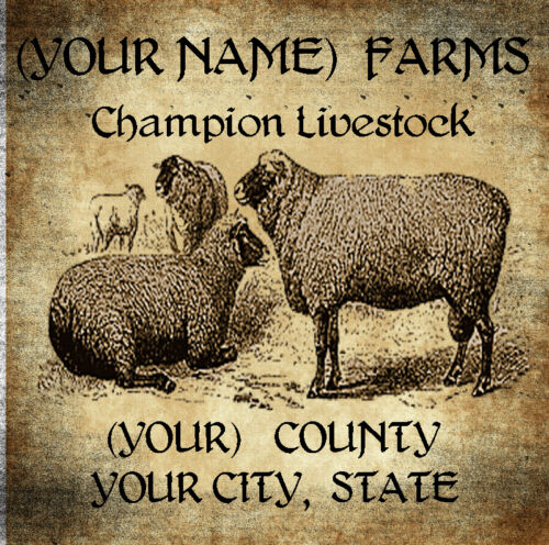 Livestock Farm Label with Sheep         Customized For You.  8x10