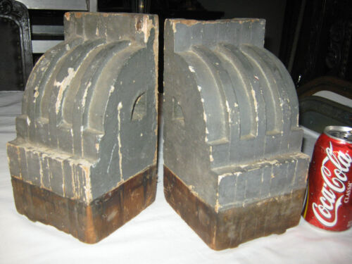 2 ANTIQUE ARCHITECTURAL USA WOOD BLOCK CORBEL INDUSTRIAL ART STATUE BOOKENDS US