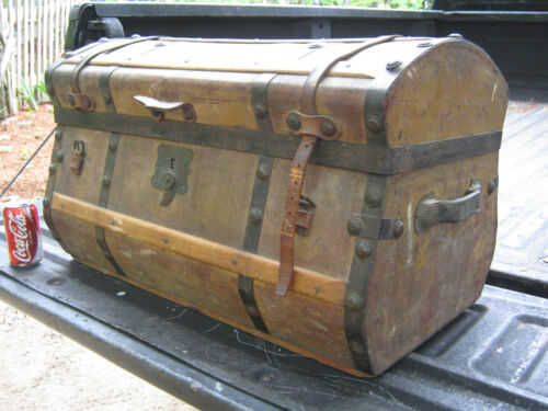 ANTIQUE C. 1850 AMERICAN COUNTRY PRIMITIVE JENNY LIND WOOD HARDWARE TRUNK TABLE