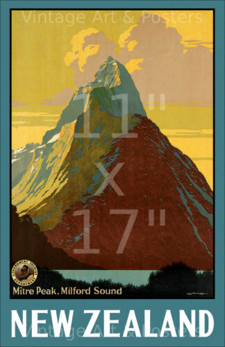 Vintage Travel Poster New Zealand #1 - 11x17 inches