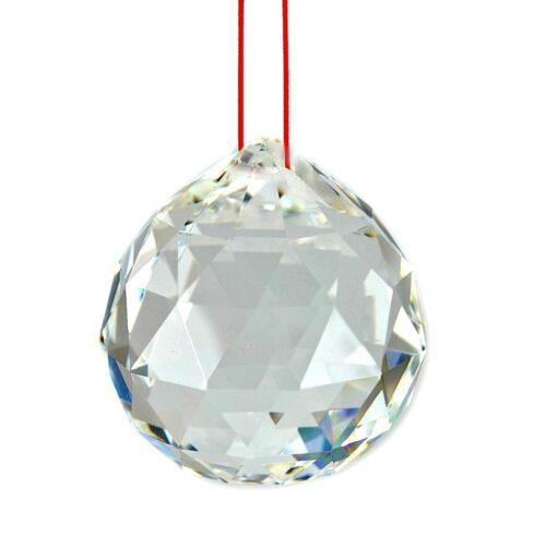 """FENG SHUI HANGING CRYSTAL BALL 1.5"""" 40mm Sphere Prism Faceted Sun Catcher Clear"""