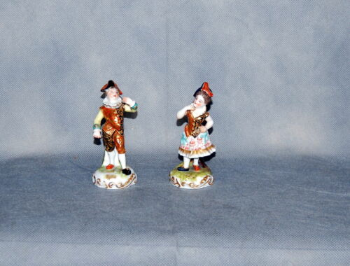 Pair Antique Derby Porcelain Commedia dell'arte Figures Hunchback & Lady