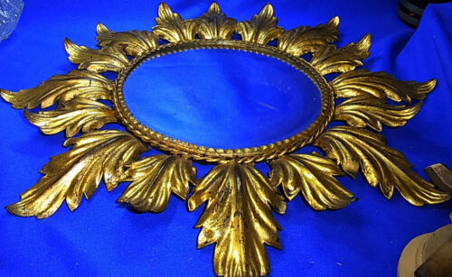 Mid Century 60´s Spain Gilt Star Bust Sun Burst Leaf Wall Mirror Metal #<