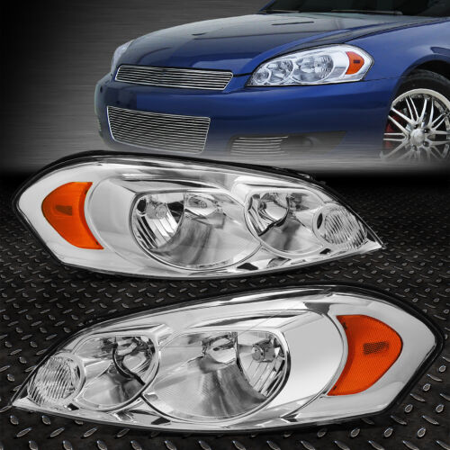 FOR 06-16 CHEVY IMPALA LIMITED CHROME HOUSING AMBER CORNER HEADLIGHT HEAD LAMPS <br/> OE Factory Style; Direct Replacement; Fast Shipping!