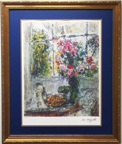 """Marc Chagall """"Still Life"""" Limited Edition Lithograph NEW CUSTOM FRAMED floral"""