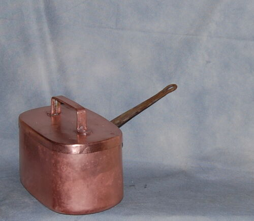 French Antique Daubière Braisière Copper Pan Chef Cuivre With Lid