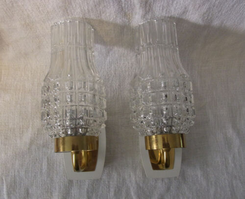 Pair Mid Century 60´s  White Glass & Brass Wall Lamp Sconces #<