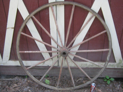 ANTIQUE PRIMITIVE AMERICAN COUNTRY WOOD CAST IRON CARRIAGE BUGGY FOLK ART WHEEL