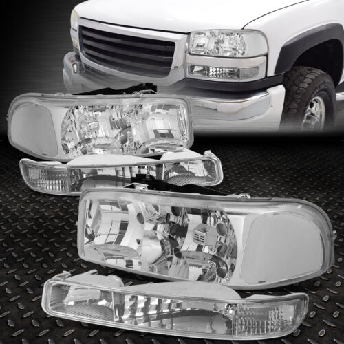 Bumper Lamps Replacement for GMC Sierra//Yukon GMT800 99-07 4pc Chrome Housing Amber Side Dual Halo Projector Headlight