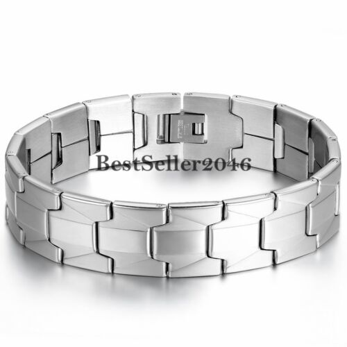 16mm Wide Stainless Steel Men's Chain Link Bracelet Cuff Bangle Wristband 8.1""