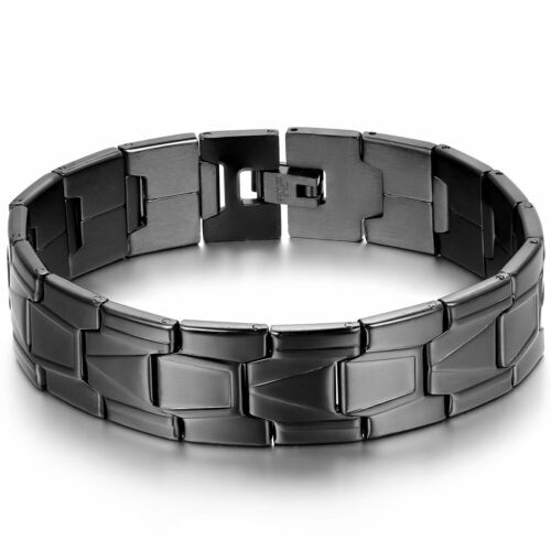 """Classic Black Stainless Steel Watch Band Style Link Chain Men Bracelet Cuff 8.3"""""""