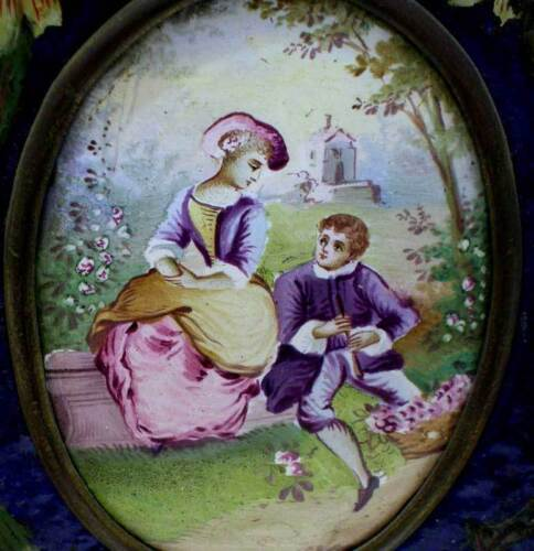 GORGEOUS ANTIQUE HAND PAINTED ENAMELED FRAMED MINIATURE