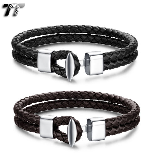 TT Two-Row Genuine Leather 316L Stainless Steel Buckle Bracelet Wristband BR171