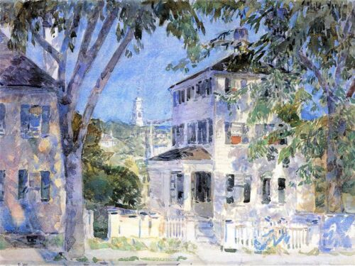 FREDERICK CHILDE HASSAM STREET IN PORTSMOUTH OLD ART PAINTING PRINT 1022OMA