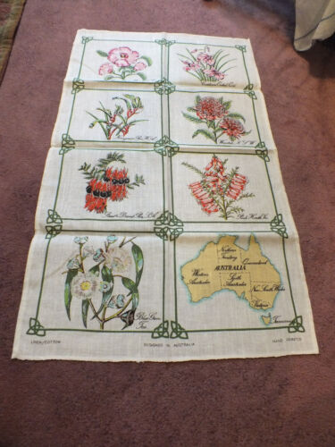 Collectible Tapestry Table Runner Signed Designed Austrailia Hand Printed Floral