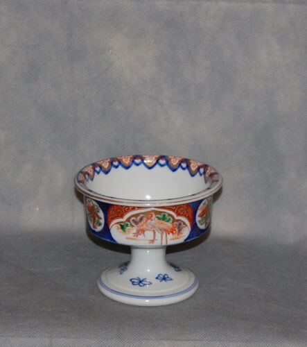 Antique Japanese Porcelain Imari Crane Stem Bowl Meji