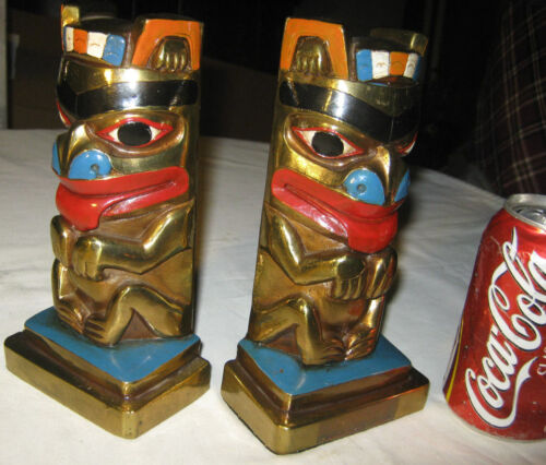 ANTIQUE BRONZE CLAD HAIDA INDIAN TOTEM POLE ART STATUE SCULPTURE USA MB BOOKENDS