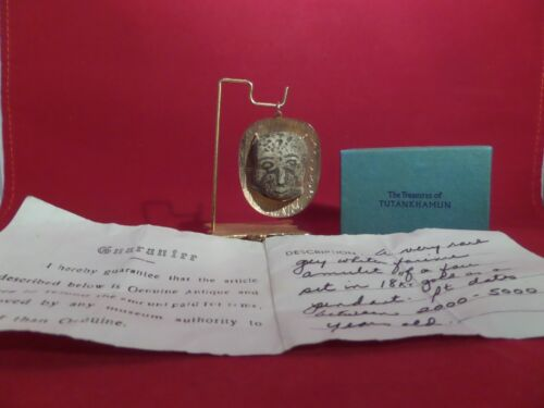 Antique Egyptian Faience Mask Amulet Pendant 18K Gold With Certificate
