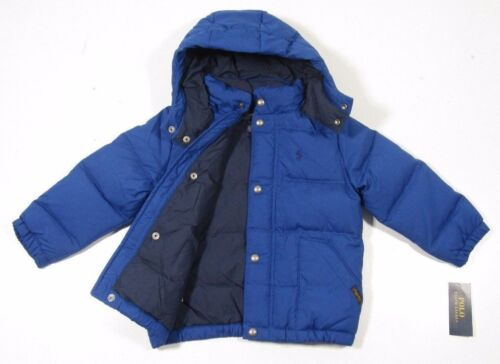 Ralph Lauren Polo Boys Royal Blue Puffer Down Jacket With Detachable Hood